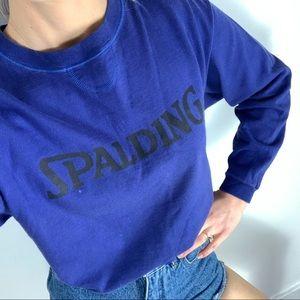 Vintage SPALDING blue crewneck cropped long sleeve